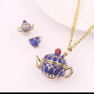 Tea Pot Earring and Sweater Necklace Set